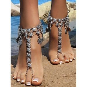 Pair of Silver Coin Foot Chains - 2 Pieces